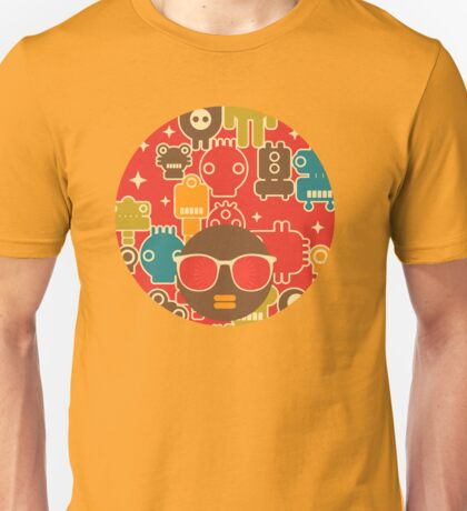 Robots on red Unisex T-Shirt