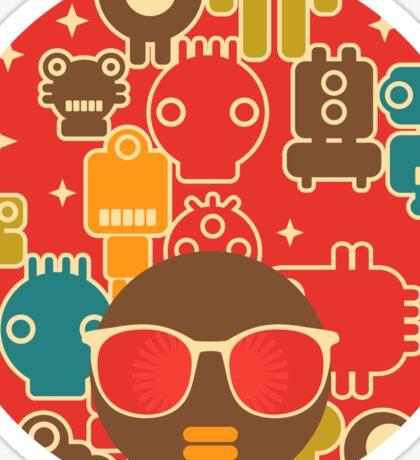 Robots on red Sticker
