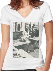 The Absinthe drinker Women's Fitted V-Neck T-Shirt