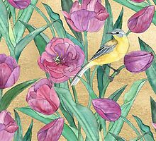 Blue Headed Wagtail in the Tulips by micklyn
