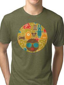 Robots on green Tri-blend T-Shirt