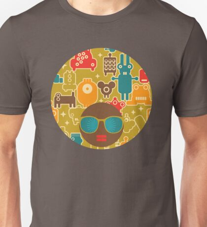 Robots on green Unisex T-Shirt
