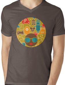Robots on green Mens V-Neck T-Shirt