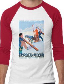 Sports D'Hiver, French Travel Poster Men's Baseball ¾ T-Shirt