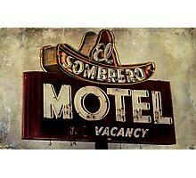 Vintage El Sombrero Motel Sign, Salinas, CA. Photographic Print