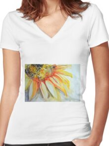 Colorful watercolor of gentle flower with large petals Women's Fitted V-Neck T-Shirt