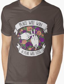 Peace will win floral Mens V-Neck T-Shirt