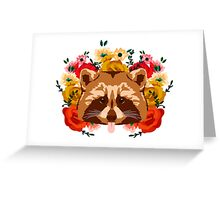 Raccoon with flowers Greeting Card
