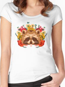 Raccoon with flowers Women's Fitted Scoop T-Shirt