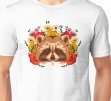Raccoon with flowers Unisex T-Shirt