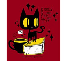 Books and Cats and Tea Photographic Print
