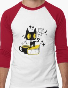 Books and Cats and Tea Men's Baseball ¾ T-Shirt