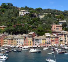 6 August 2016 Natural scenery with sea and yachts from Portofino vacation resort, an Italian fishing village, Genoa province, Italy. Sticker