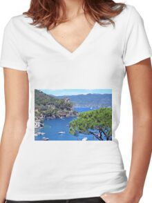 6 August 2016 Natural scenery with sea and yachts from Portofino vacation resort, an Italian fishing village, Genoa province, Italy. Women's Fitted V-Neck T-Shirt