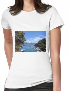 6 August 2016 Natural scenery with sea and yachts from Portofino vacation resort, an Italian fishing village, Genoa province, Italy. Womens Fitted T-Shirt