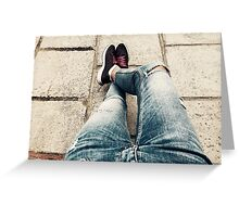 Casual Outfit Woman Relaxing On Summer Day Greeting Card