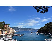 6 August 2016 Natural scenery with sea and yachts from Portofino vacation resort, an Italian fishing village, Genoa province, Italy. Photographic Print