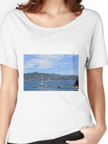 6 August 2016 Natural scenery with sea and yachts from Portofino vacation resort, an Italian fishing village, Genoa province, Italy. Women's Relaxed Fit T-Shirt