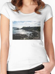 Dunnottar Castle Scotland Low Tide Women's Fitted Scoop T-Shirt