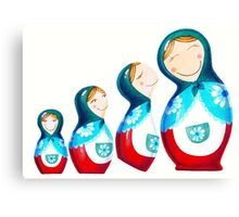 Kissing Matryoshka Dolls Canvas Print