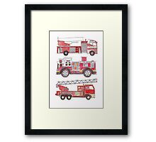 Three fire engines Framed Print