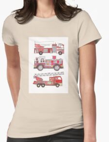 Three fire engines Womens Fitted T-Shirt