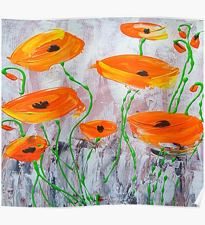 Abstract Orange Poppies Poster
