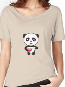 Cute Panda with rice bowl Women's Relaxed Fit T-Shirt