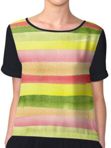 Watercolor colorful stripes seamless background. Chiffon Top