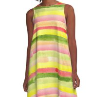 Watercolor colorful stripes seamless background. A-Line Dress