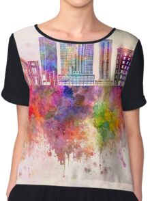 Fort Worth skyline in watercolor background Chiffon Top
