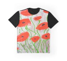 Abstract Red Poppies Graphic T-Shirt