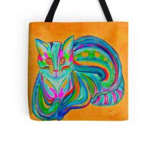 Orange - Hypno Rainbow Cat Tote Bag