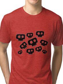 Cute Halloween Black Skulls Tri-blend T-Shirt