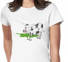 Cow Casting a Green Shadow Womens Fitted T-Shirt