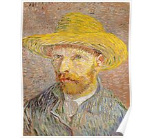 Self-Portrait with a Straw Hat, Artist Vincent van Gogh Poster