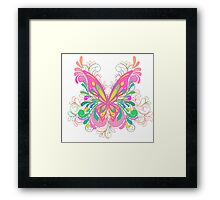 Bright Pink Ornate Butterfly Art Framed Print