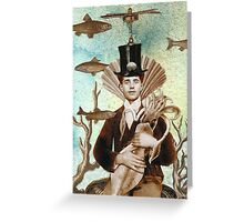 Steampunk Undersea Portrait with Squid Greeting Card