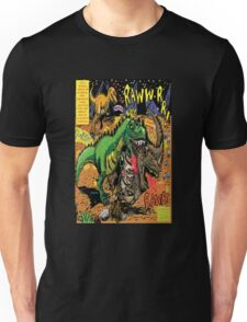 """Space Chick & Nympho: Vampire Warrior Party Girl Comix #1-  Comic Page """"Dino Fight"""" Unisex T-Shirt"""