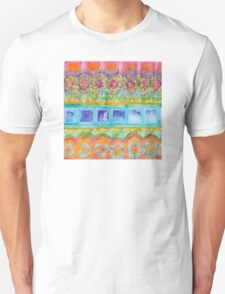 Square and Flower Lines Pattern Unisex T-Shirt