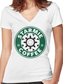 Starmie Coffee - Pokemon Starbucks (white) Women's Fitted V-Neck T-Shirt