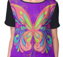 Colorful Artistic Butterfly Art Chiffon Top