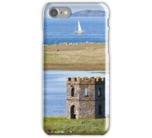 North Uist, Outer Hebrides, Scotland Folly with yacht at sea iPhone Case/Skin