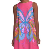 Colorful Artistic Blue Butterfly Art A-Line Dress