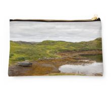 Isle of Lewis, Outer Hebrides, Scotland. Boat at high tide, near Marbhig. Studio Pouch