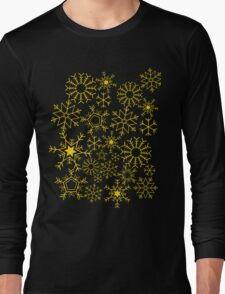Gray and yellow snowflakes Long Sleeve T-Shirt