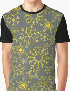 Gray and yellow snowflakes Graphic T-Shirt
