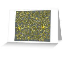 Gray and yellow snowflakes Greeting Card