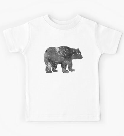 Bear Watercolor Art in Black and White Kids Tee
