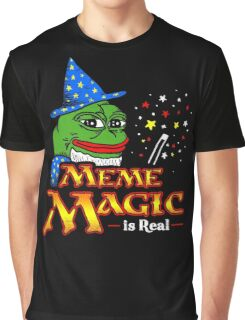 Meme Magic Is Real Pepe The Frog Wizard Graphic T-Shirt